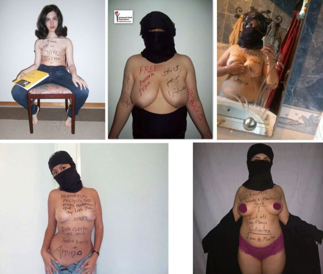 five pictures of middle eastern women in face-veil, showing their nude chests with pro-amina messages written on them